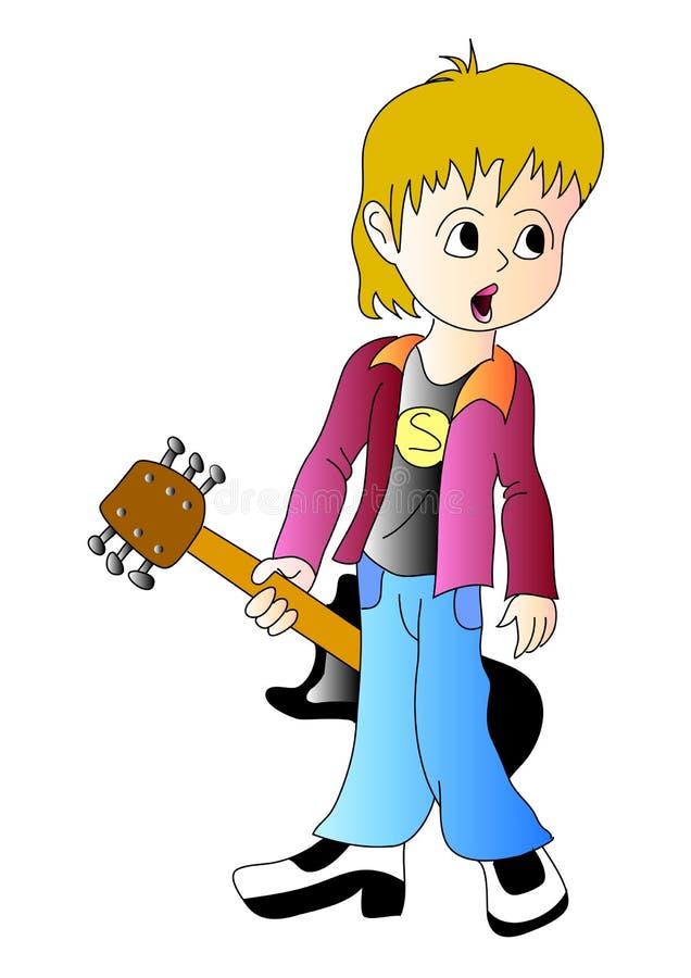 гитара мальчика иллюстрация вектора