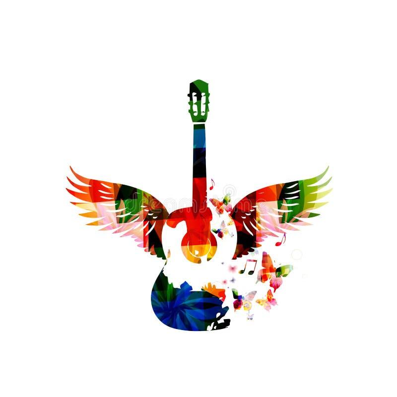 Гитара с крылами бесплатная иллюстрация