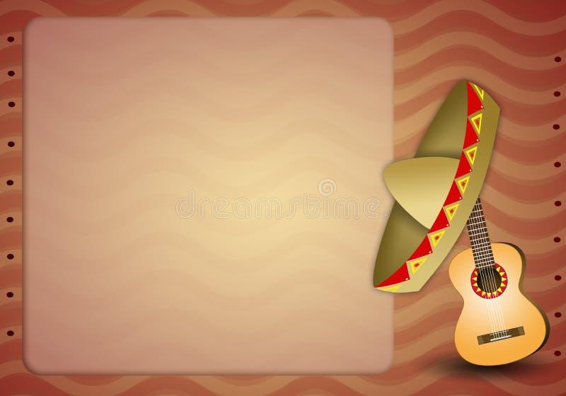 Гитара с мексиканским sombrero иллюстрация вектора
