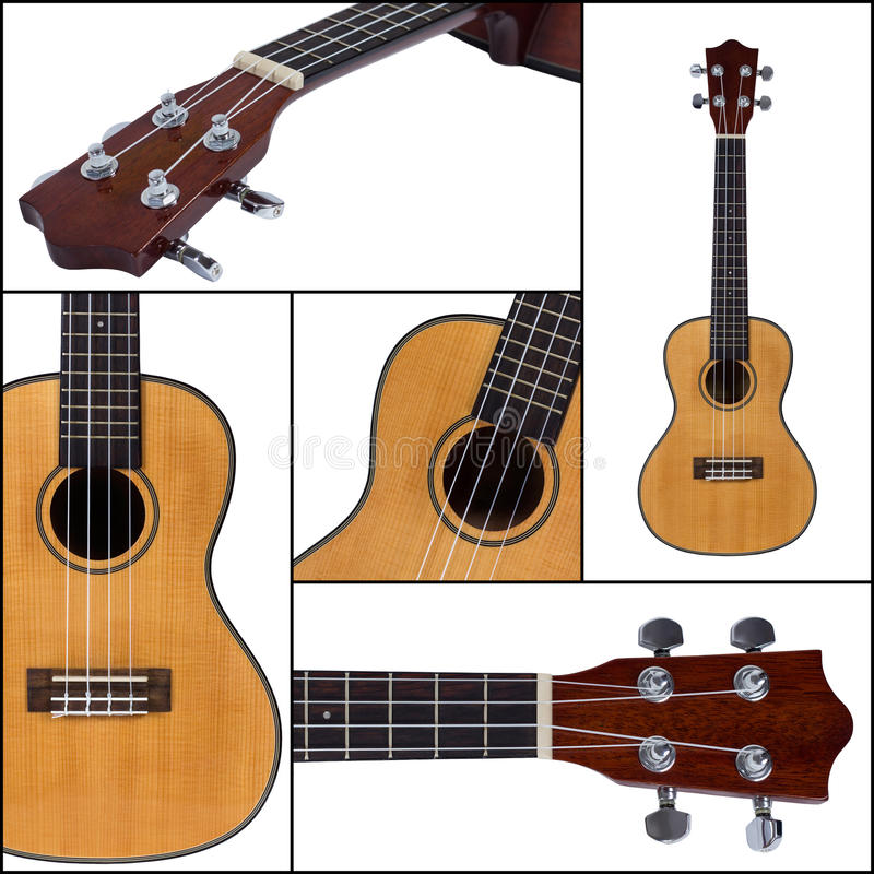 Гитара Ukulele изолированная на белой предпосылке стоковые фотографии rf