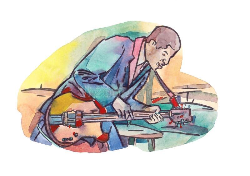 Гитарист джаза иллюстрация вектора