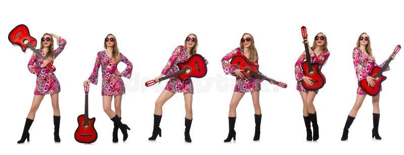 Гитарист женщины стоковое изображение rf