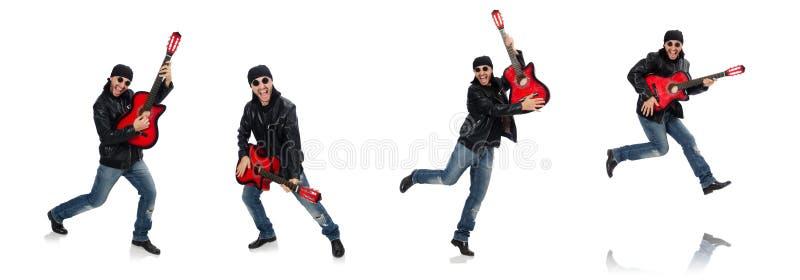 Гитарист изолированный на белизне стоковые изображения