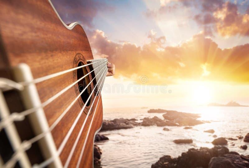Гитарист на пляже стоковые фотографии rf