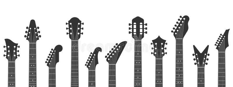 Гитарные головоломки Гитарные шеи, рок-музыка и гитара пегхед с настраивающей векторной иллюстрацией pegs иллюстрация штока