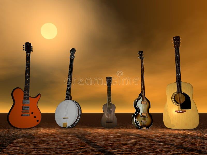 Гитары, банджо и ukulele иллюстрация вектора