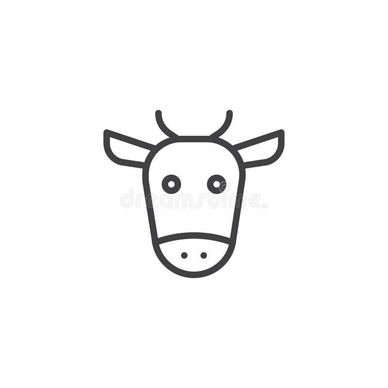 Главная линия значок коровы иллюстрация вектора