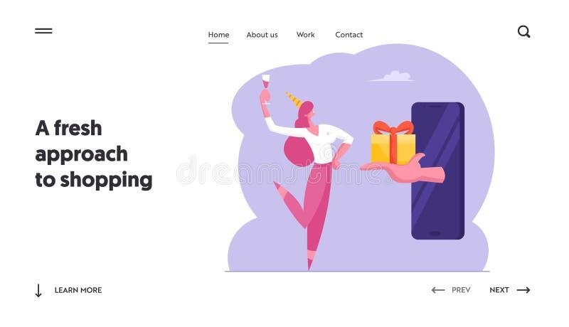 Главная страница сайта Consumerism, Online Sale или Bonus Бизнес-женщина в Шляпке для дня рождения с чампановым стеклом получает  иллюстрация вектора