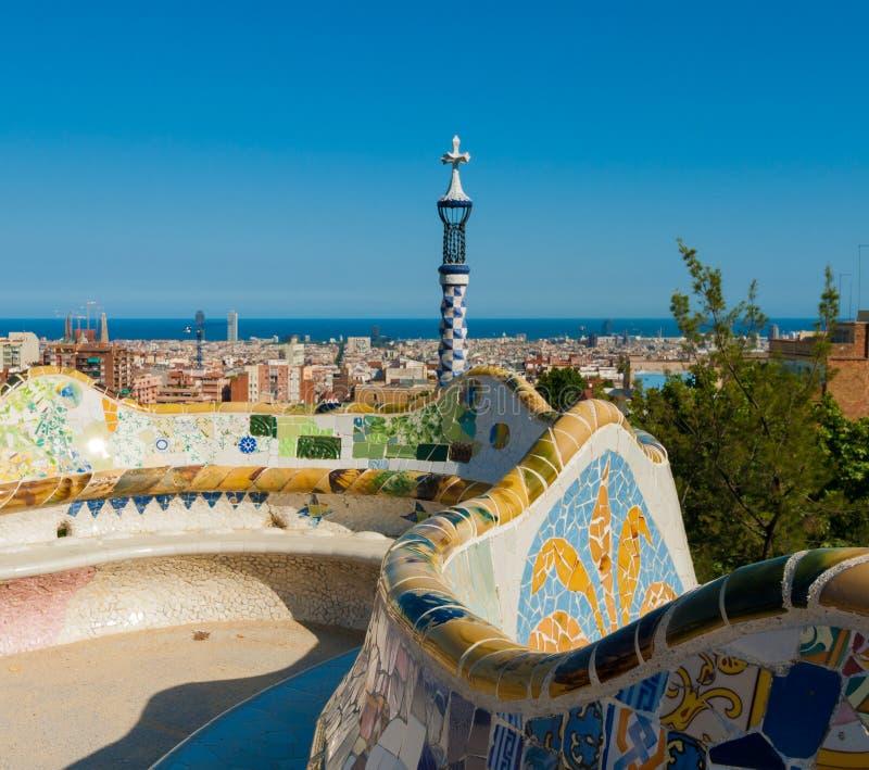 Главная терраса в guell парка, Барселона, Испания стоковое изображение rf