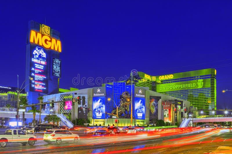 Главная улица Las Вегас-был прокладка в выравнивать время Казино, гостиница и курорт-MGM большие стоковое изображение rf