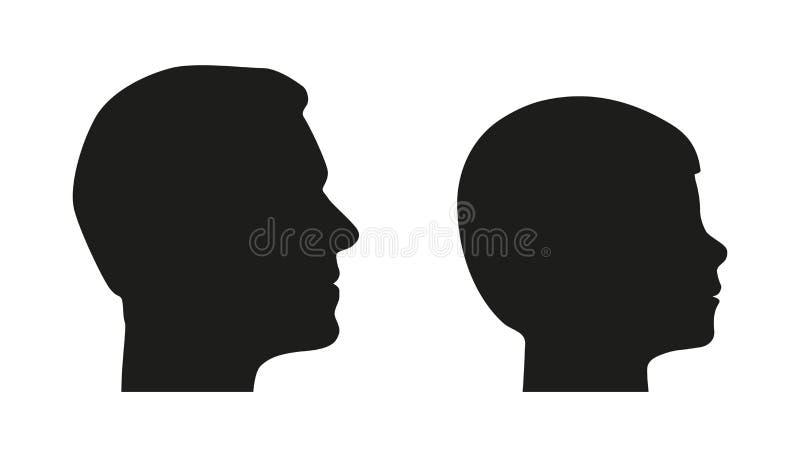 Главный силуэт от отца и сына - вариант вектора человека и мальчика - изолированных на белой предпосылке бесплатная иллюстрация