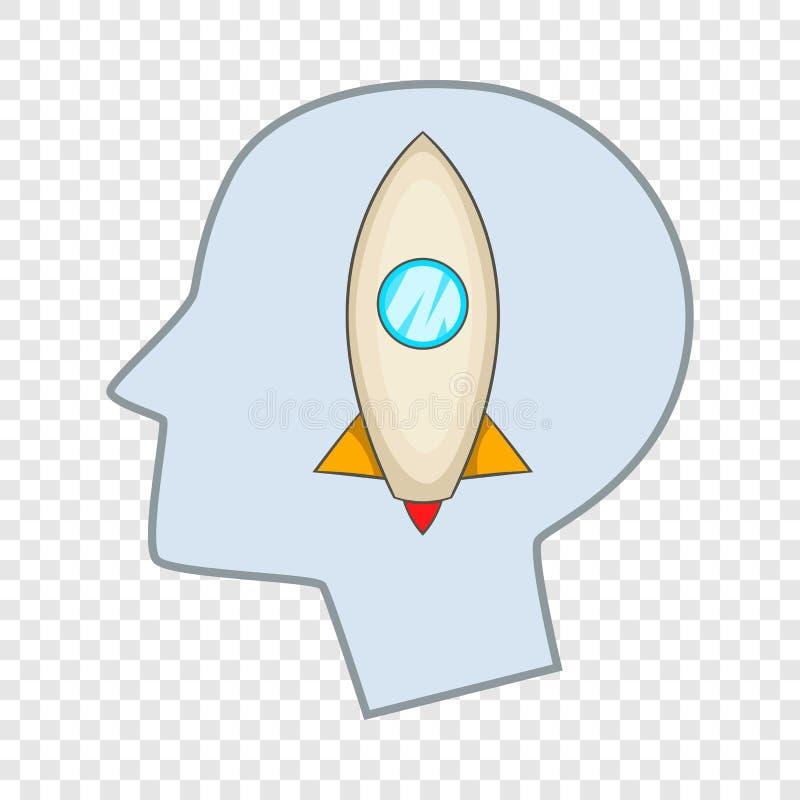 Главный силуэт с ракетой внутри значка бесплатная иллюстрация