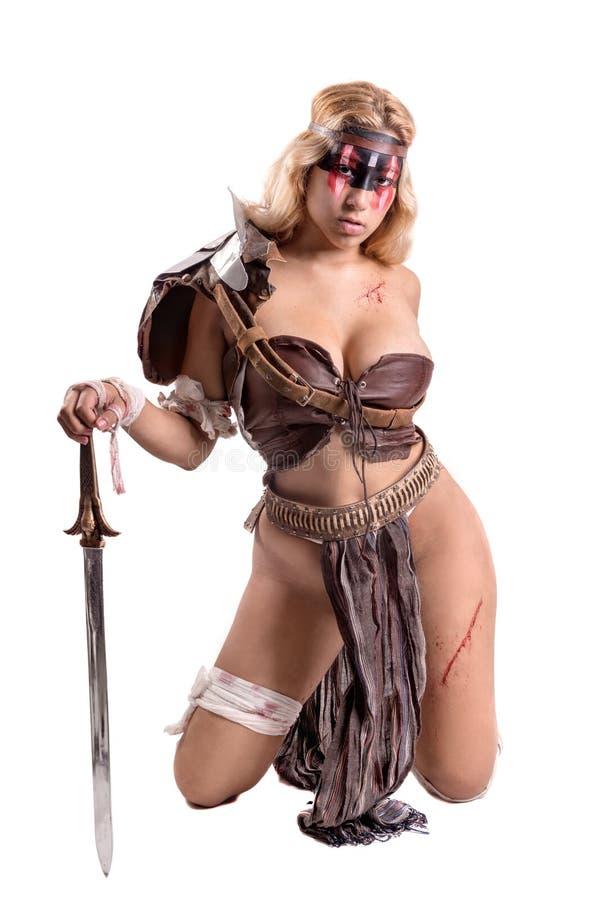 Гладиатор женщины/старый воин стоковое фото rf
