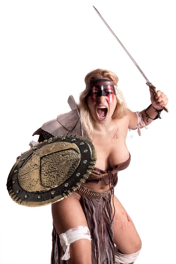 Гладиатор женщины/старый воин стоковые фото