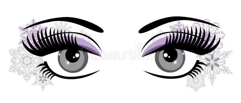 Глаза вектора со снежинками абстрактная предпосылка бесплатная иллюстрация
