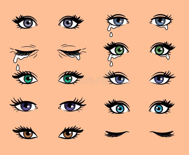 Глаза женщины искусства шипучки шаржа иллюстрация вектора