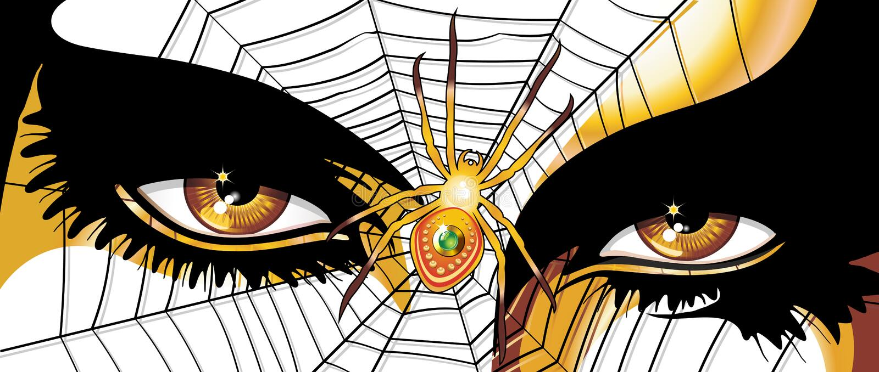 Глаза женщины паука золотые иллюстрация штока