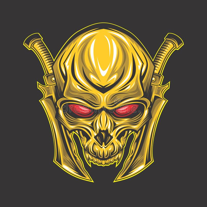 Глаза классического золотого черепа красные иллюстрация штока