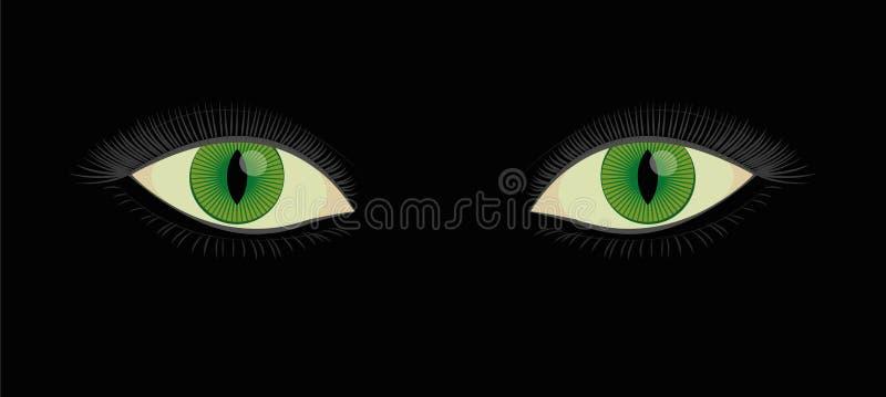 Глаза котов зеленого цвета зрачка разреза человеческие иллюстрация вектора