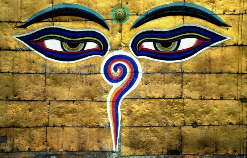Глаза премудрости Buddhas стоковая фотография rf