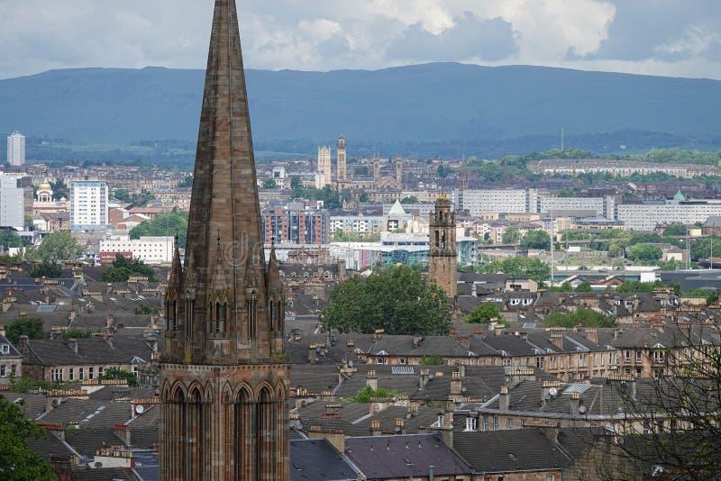 Глазго, городской пейзаж дневного времени Шотландии от парка ферзя стоковые фото