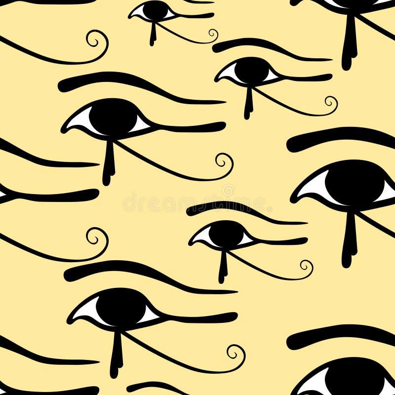 Глаз безшовной картины египетский символа Horus Illustrat вектора иллюстрация вектора