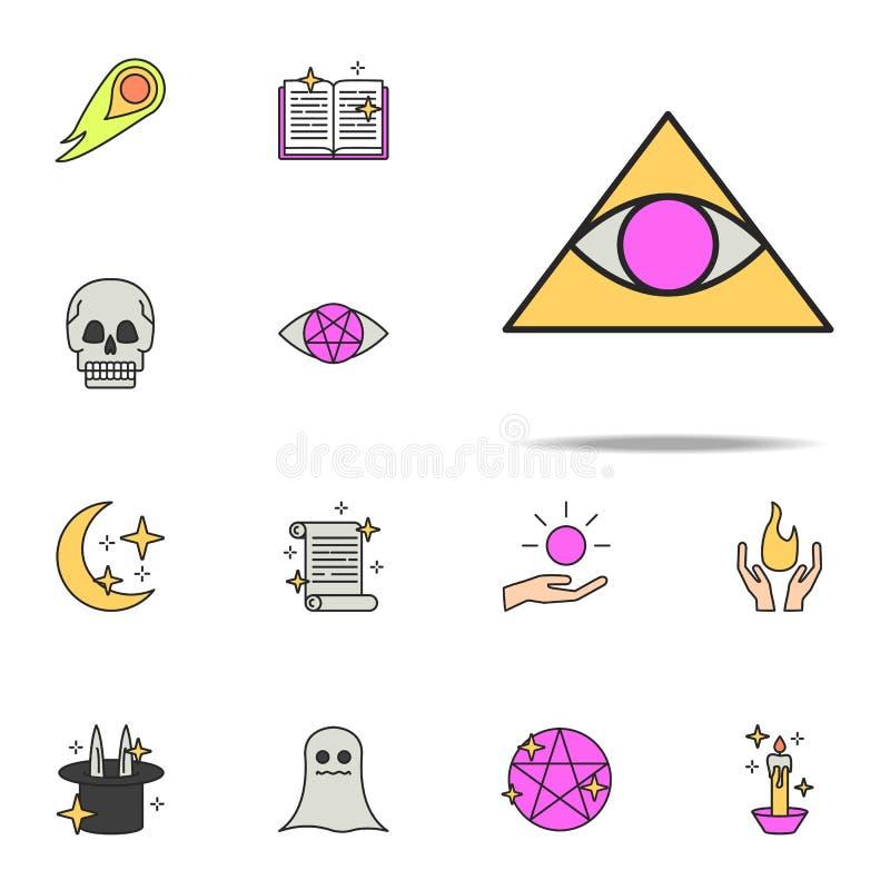 глаз в значке треугольника набор волшебных значков всеобщий для сети и черни иллюстрация вектора