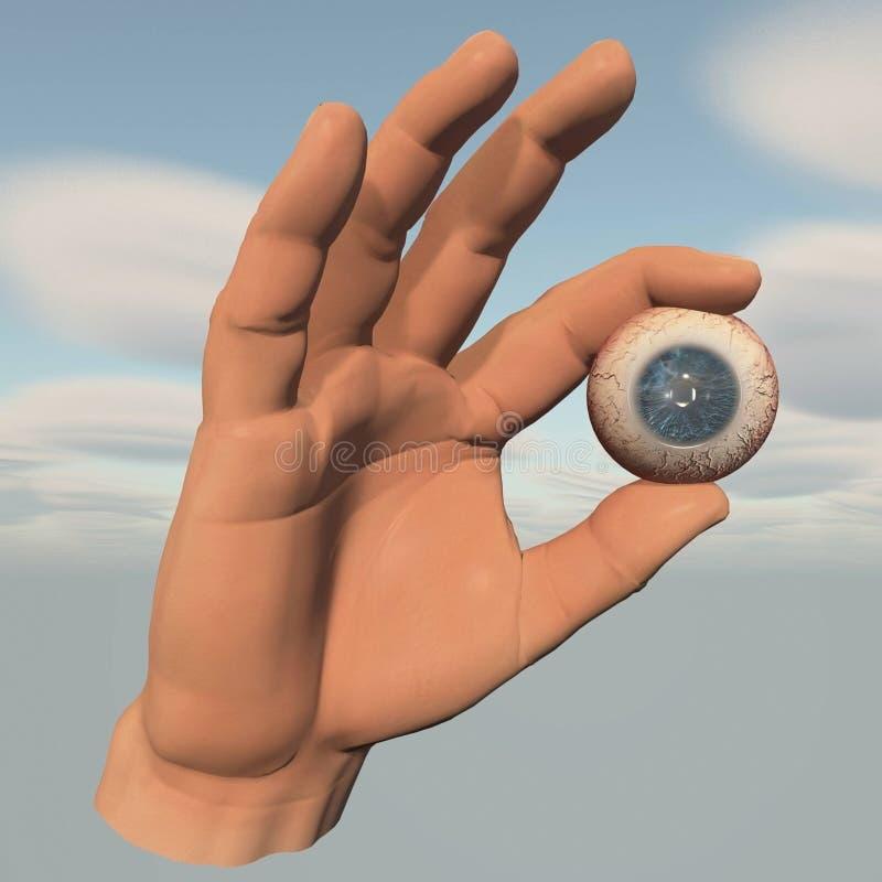 Глаз в щипке руки бесплатная иллюстрация