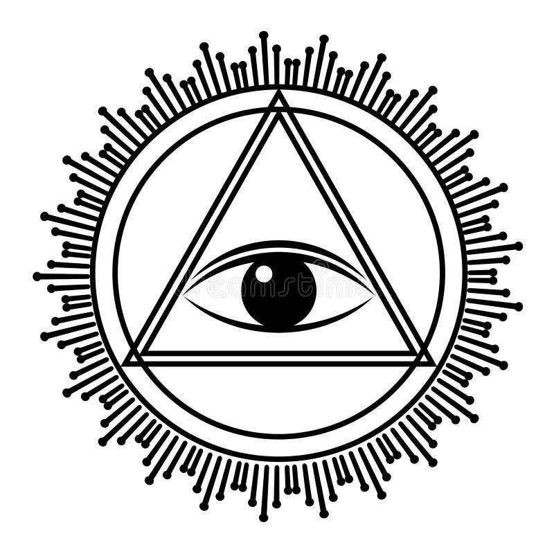 Глаз знака Провиденса Полностью видя глаз в пирамиде треугольника бесплатная иллюстрация