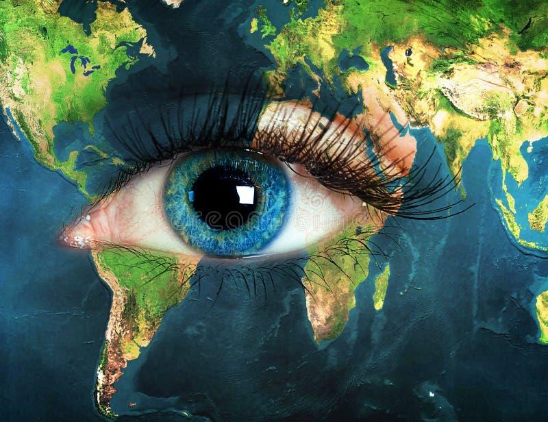Глаз интегрированный с картой мира иллюстрация вектора