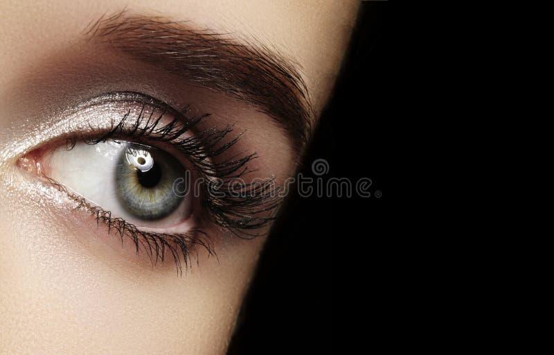 Глаз красивого макроса женский с весьма длинными ресницами и отпраздновать макияж Идеальный макияж формы, фасонирует длинные плет стоковое изображение