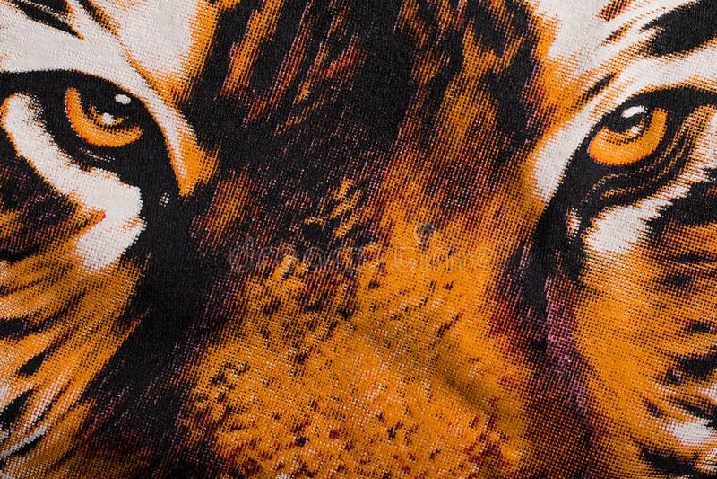 Глаз печати тигра на холсте иллюстрация вектора