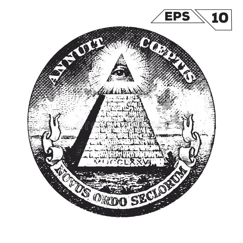 Глаз Провиденса на одном долларе США бесплатная иллюстрация