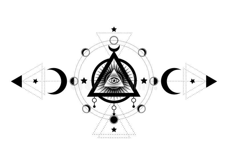 Глаз Провиденс Masonic символ Полностью видя глаз внутри символа богини луны Wicca тройной луны языческого r Татуировка иллюстрация штока