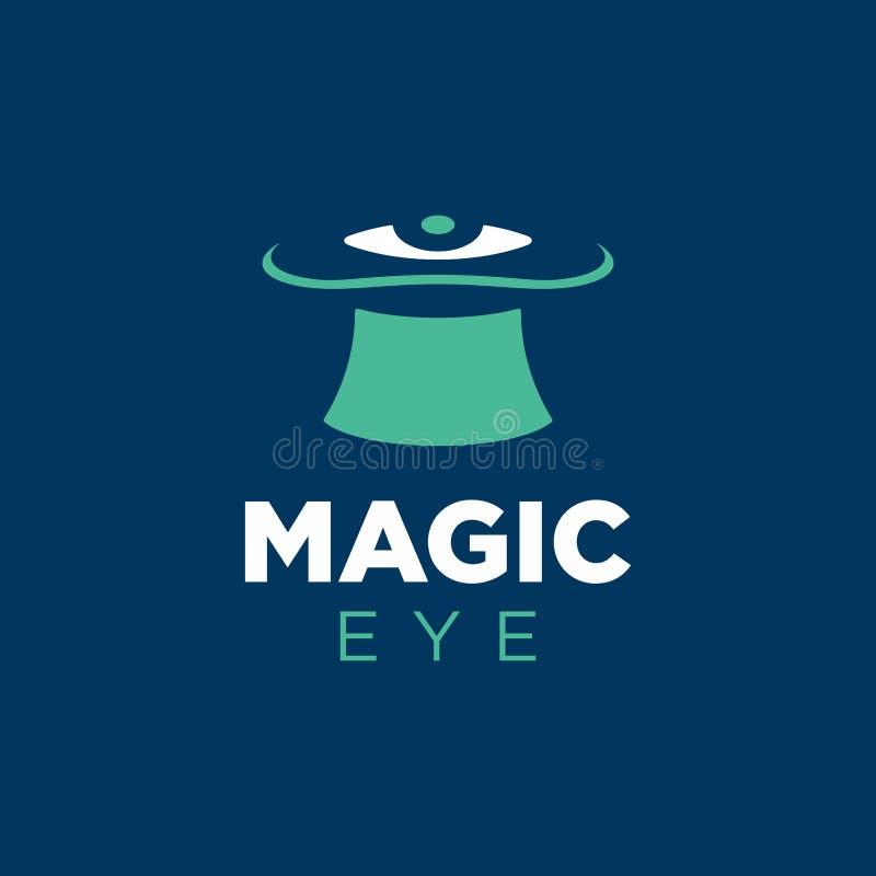 Глаз современного профессионального логотипа вектора волшебный в голубой и зеленой теме бесплатная иллюстрация