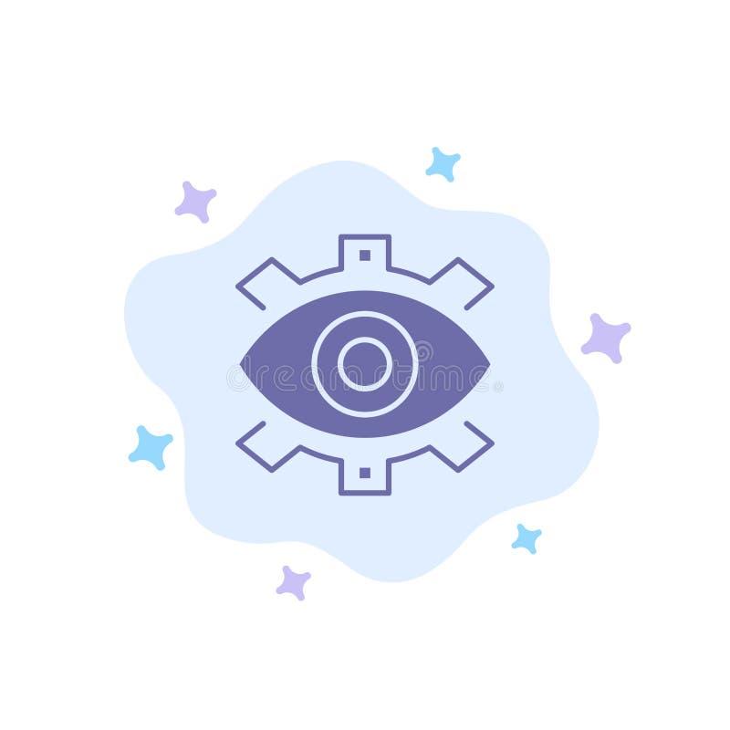 Глаз, творческий, продукция, дело, творческий, современное, значок продукции голубой на абстрактной предпосылке облака иллюстрация вектора
