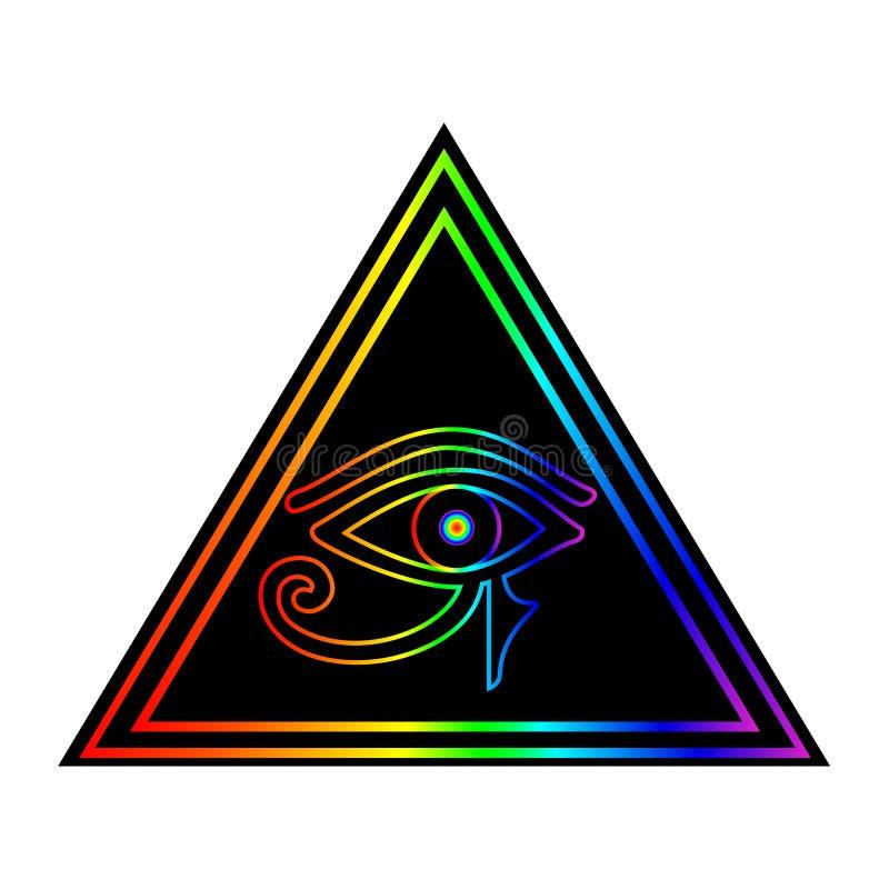 Глаз Horus внутри pyramyd иллюстрация вектора