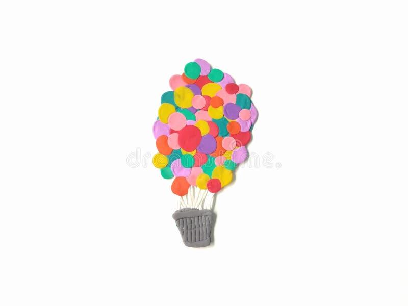 Глина пластилина корзины аэростата, красочное тесто воздушного шара иллюстрация штока