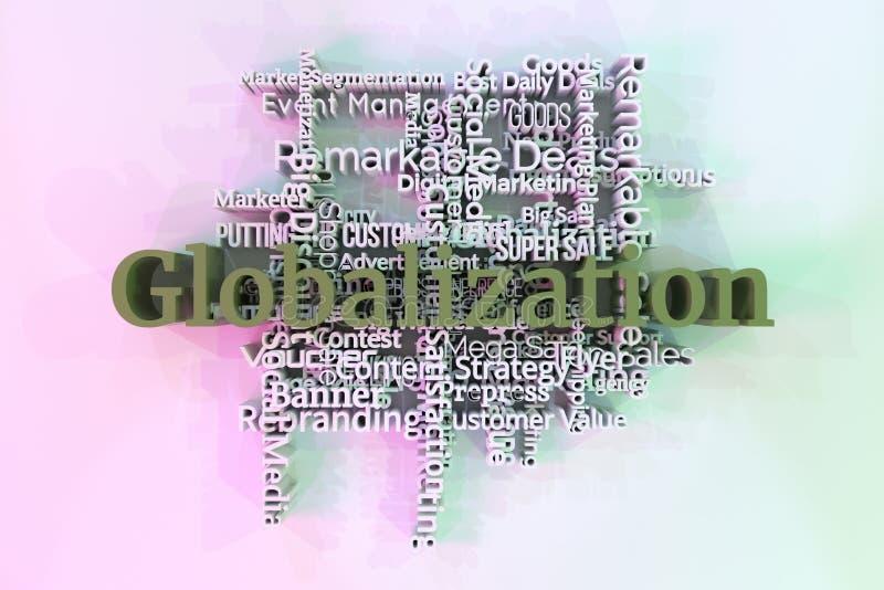 Глобализация, слова ключевого слова маркетинга заволакивает Для интернет-страницы, графического дизайна, текстуры или предпосылки иллюстрация штока
