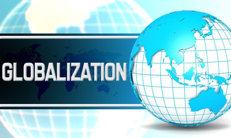 Глобализация с глобусом сферы иллюстрация штока