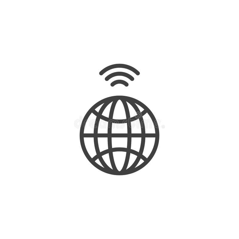 Глобальная беспроводная линия значок доступа в интернет иллюстрация штока