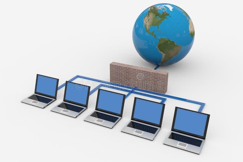 глобальная вычислительная сеть брандмауэра компьютера бесплатная иллюстрация