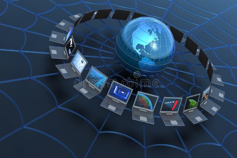 глобальная вычислительная сеть компьютера иллюстрация вектора