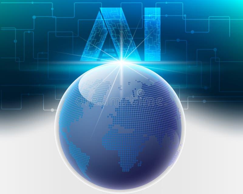Глобальная информационная сеть bigdata облака мира с Di письма AI бесплатная иллюстрация