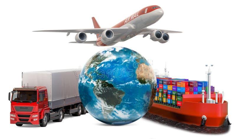 Глобальная концепция доставки Перевозимый самолетами груз, грузовые перевозки и всемирный транспорт перевозки r иллюстрация вектора