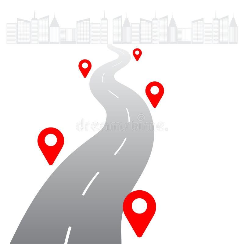 Глобальная концепция сети снабжения Дорога к megapolis с значками geolocation на белой предпосылке Логистический шаблон для вашег иллюстрация вектора