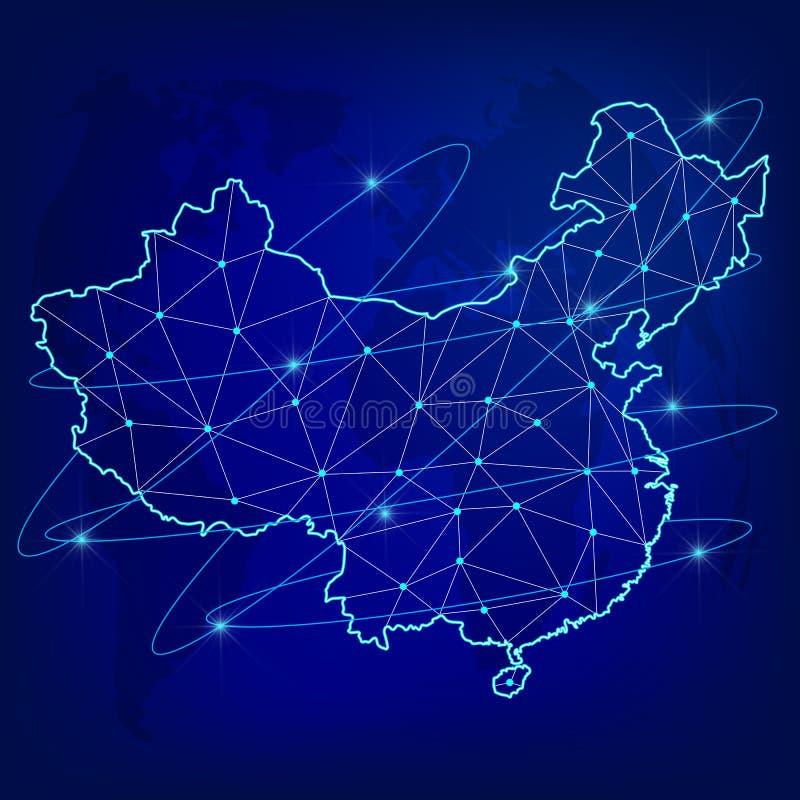 Глобальная концепция сети снабжения Карта сети связей Китая на предпосылке мира Карта Китая с узлами в поли бесплатная иллюстрация
