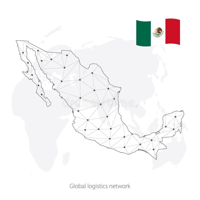 Глобальная концепция сети снабжения Карта сети связей объединенных мексиканских положений на предпосылке мира Острословие Мексики иллюстрация вектора