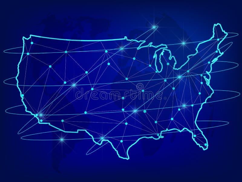 Глобальная концепция сети снабжения Карта сети связей США на предпосылке мира Карта США с узлами в полигональном s иллюстрация вектора