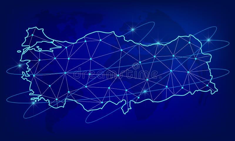 Глобальная концепция сети снабжения Карта сети связей Турции на предпосылке мира Карта Турция с узлами в поли иллюстрация вектора